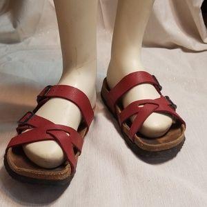 BIRKENSTOCK💟Nepal Cross Strap Red Leather Sandals